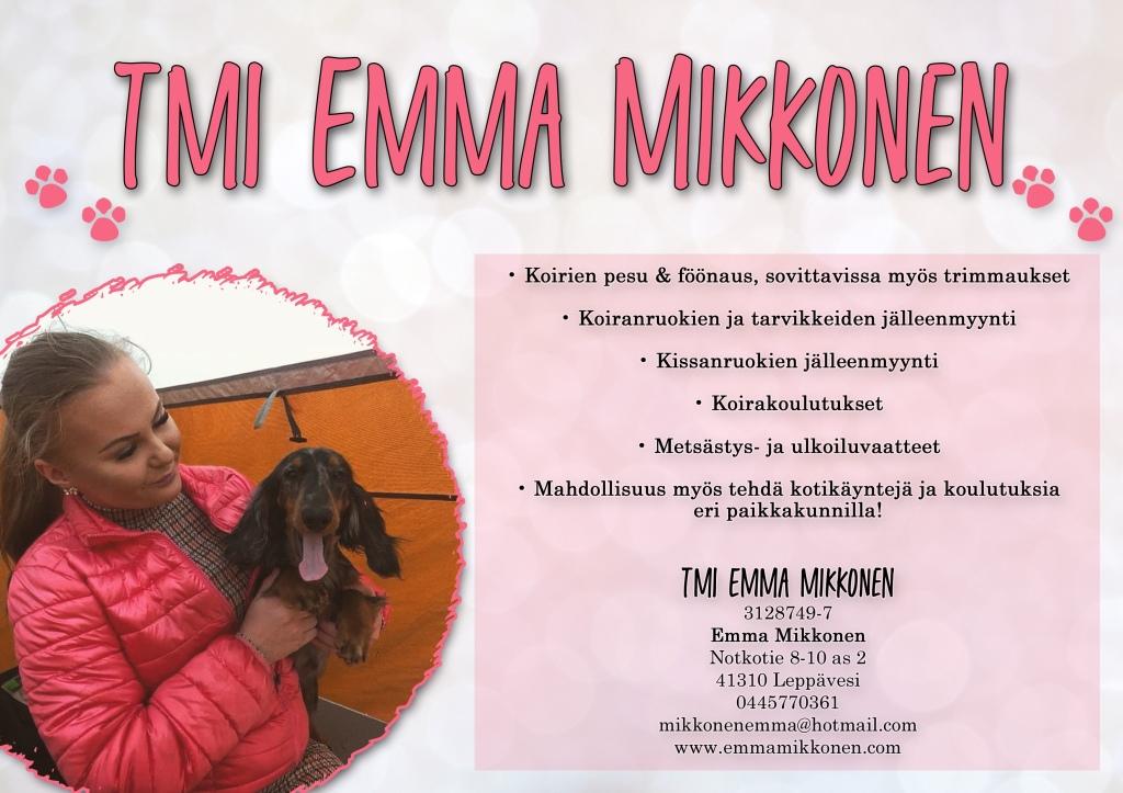 Kuvassa voi olla 1 henkilö, koira, ulkovaatteet ja tekstissä sanotaan TMI EMMA MIKKONEN •Koirien pesu & föönaus, sovittavissa myös trimmaukset Koiranruokien ja tarvikkeiden jälleenmyynti Kissanruokien jälleenmyynti Koirakoulutukset Metsästys ja ulkoiluvaatteet Mahdollisuus myös tehda kotikäyntejä ja koulutuksia eri paikkakunnilla! TMI EMMA MIKKONEN 3128749-7 Emma Mikkonen Notkotie 8-10as 8-10 41310 Leppävesi 0445770361 mikkonenemma@hotmail.com www.emmamikkonen.com